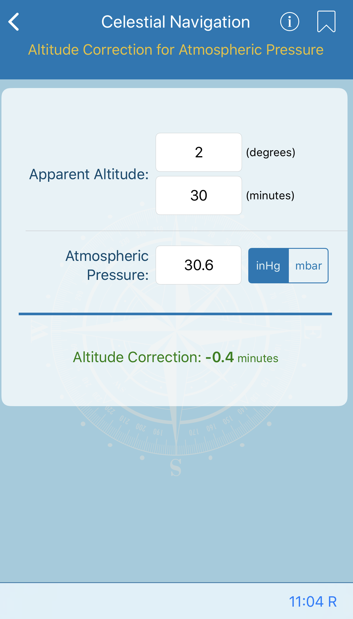 Altitude Correction for Atmospheric Pressure